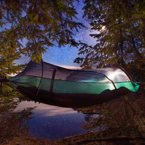 camping with hammock