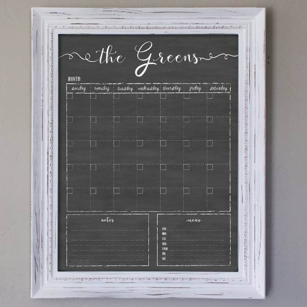 Customized Dry Erase Framed Calendar - Chalkboard Calendar