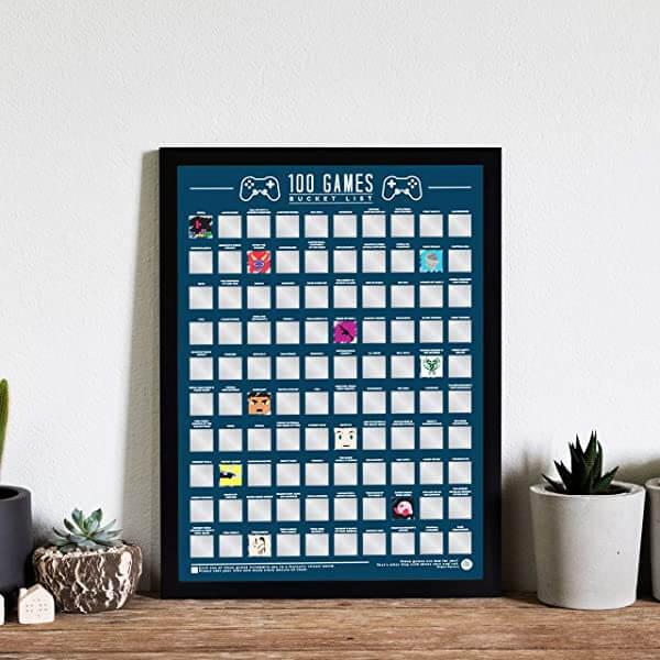 100 Video Games Bucket List Scratch Off Poster